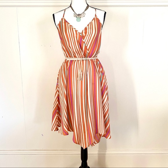 charlie jade Dresses & Skirts - Faux wrap Charlie Jade striped dress in XS